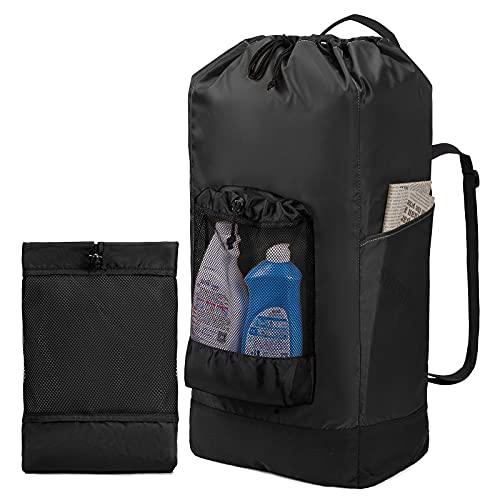 KALIDI Laundry Backpack , 60L Foldable Laundry Bag Mesh Pocket 600D Durable Nylon Washing Backpack for College Dorm Laundromat Apartment Travel Camp