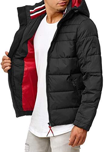 Indicode Herren Philpot Steppjacke in Daunenjacken-Optik mit Abnehmbarer Kapuze und Stehkragen| gefütterte sportliche Winterjacke warme robuste Übergangsjacke Jacke für Männer Black XL