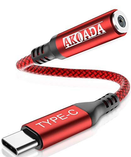 Adaptador de auriculares USB C,AkoaDa USB C a jack Adaptador de audio AUX de 3,5 mm para Huawei P30/P20 Pro/Mate10/20 Pro,Samsung S20/S20 Ultra/Note10/A80,Pixel4/3/2,Xiaomi Mi 9/9SE/8/A2,Mix3/2(rojo)…