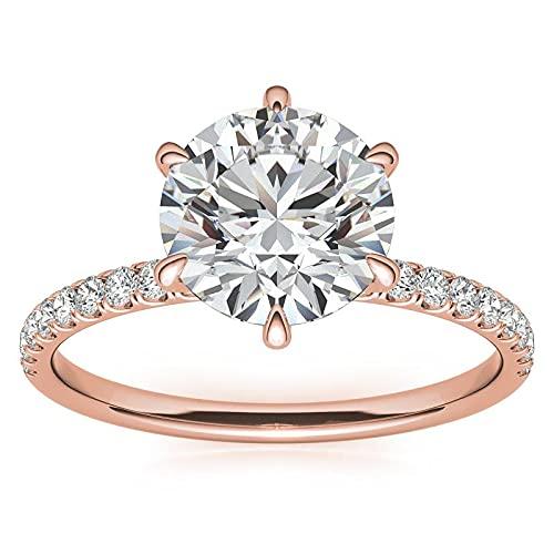 Customize Jewels Anillo de compromiso redondo de moissanita de 6 puntas de 1,00 quilates a 6,5 mm con diamante de laboratorio en oro rosa de 14 k D-VVS1 7