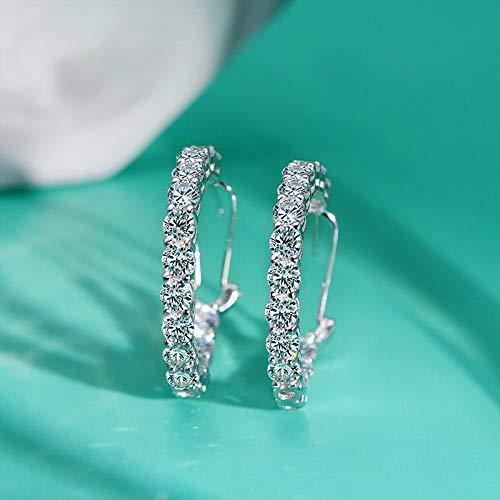 KGDUYH Pendientes de aro de plata de ley 925 con piedras preciosas creadas para boda, compromiso, joyería fina para decoración