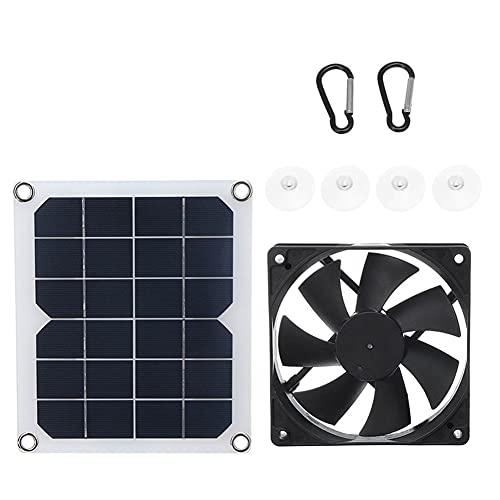 LXW Ventilador Alimentado por Panel Solar de 10w 12v, Ventilador de Escape Alimentado por energía Solar, USB Ipx4 a Prueba de Agua, Libre de óxido para Perro, Pollo, casa, Invernadero, Mascota