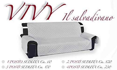 Tex Family Vivy Housse de protection matelassée pour canapé 3 places avec assise de 170 cm de long - Perle-