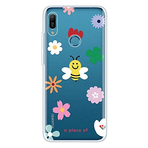 Miagon Klar Hülle für Huawei Y6 2019,Kreativ Silikon Case Ultra Schlank Transparente Weich Handyhülle Anti-Kratzer Stoßfest Schutzhülle,Biene Blume