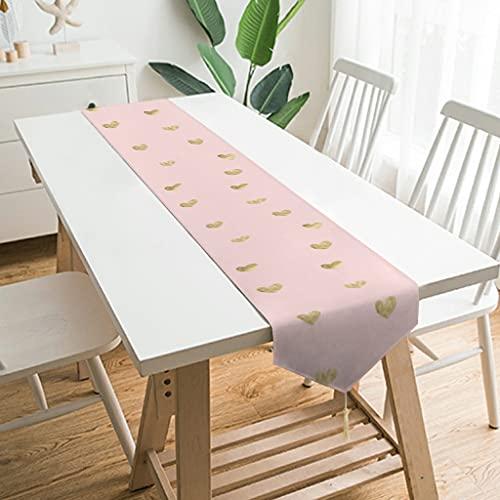 Wraill Elegante camino de mesa de peluche con corazones dorados y rosas, mantel para interior y exterior, camino de mesa con diseño, decoración para interiores y exteriores, color blanco, 178 x 33 cm