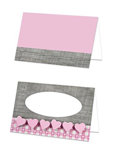 50 Stück kleine rosa-rot pinke HERZEN graue Holz-Optik Tischkarten shabby chic Namens-Kärtchen Sitzordnung Fest - Namens-Schilder Sitzkarten Platzkarten Mädchen Geburtstag - mit JEDEM Stift beschreibbar!
