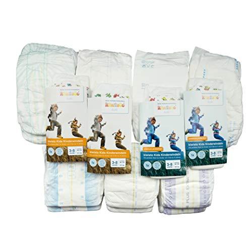 Kinderwindeln-Musterpaket - Größen 7 + XS (ca. 50-70 cm) - 9 Sorten -18 Windeln - ca. 4-10 Jahre