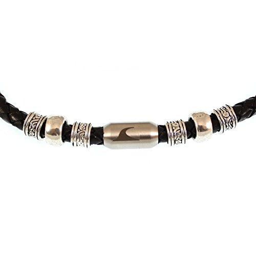 WAVEPIRATE® Echt Leder-Halskette Charm F Schwarz/Silber 48 cm Edelstahl-Verschluss in Geschenk-Box Surfer Herren Männer