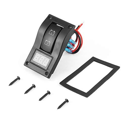 Panel de prueba de batería dual LED con voltímetro, impermeable 12-24V Voltímetro digital dual LED Panel de prueba de batería Interruptor basculante para automóvil, motocicleta, camión, barco marino