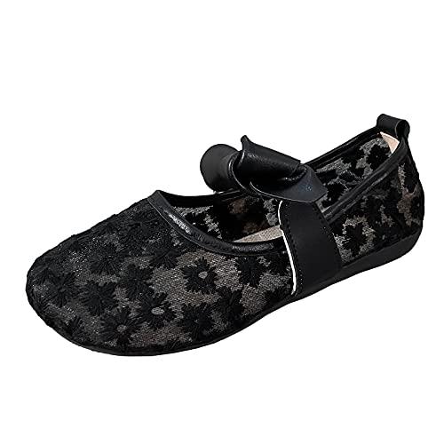 Damen Mary Jane Halbschuhe Spitze Atmungsaktives Netz Schnürhalbschuhe Freizeitschuh Knöchelriemchen Sandalen(2-Schwarz/Black,38) 316