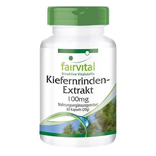 Extracto de Corteza de Pino 100mg - VEGANO - Altamente dosificado 60 cápsulas - estandarizado a 95% de proantocianidinas - ¡Calidad Alemana garantizada!