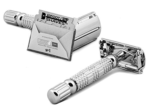 Bigfoot Shaves I Butterfly Open Double Edge Single Blade Safety Razor Kit I Classic Razor I Smooth Shave Without Razor Burns I Excellent Gift Idea I Includes Travel Case Mirror amp Blades I Silver