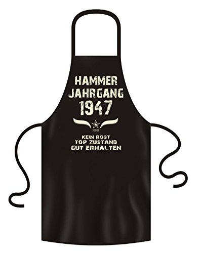 Schürze mit Geburtstagsurkunde - Hammer Jahrgang 1947 Geschenk für den Jahrgang 1947 Männer & Frauen Grillschürze 73. Geburtstag Farbe:schwarz