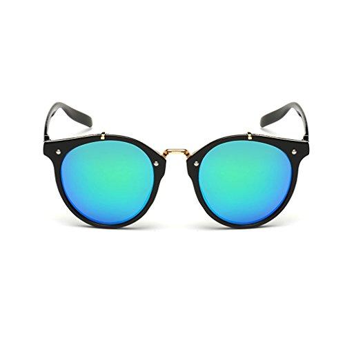 QHGstore Hombres Mujeres Nuevas gafas de sol al aire libre UV400 de conducción espejo Gafas Black/green silver