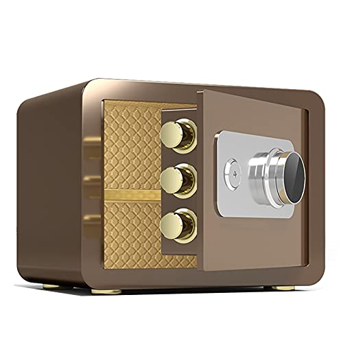 Cajas Fuertes Home Office Office Fire A Prueba De Fuego, Caja De Almacenamiento Antirrobo Seguro De Acero Pequeño, Adecuado para La Joyería De Efectivo, 25x35x25cm (Color : Brown)
