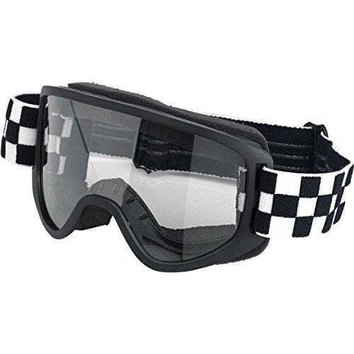 Brille Goggle Biltwell Moto 2.0Checkers Black/White Schwarz/Weiß-Transparent elastische Bandage Stil Café Racer Biker