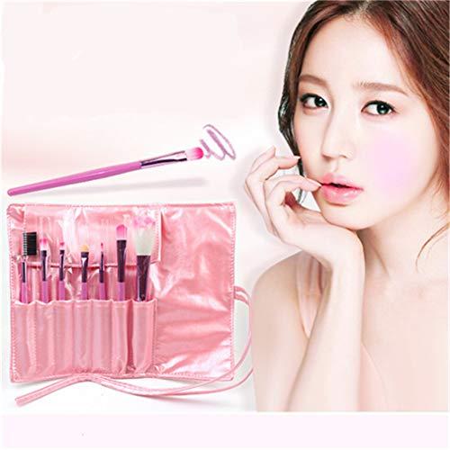 Mvude Pinceau de maquillage rose Set 7pcs Foundation Brosses à paupières avec étui à cosmétiques