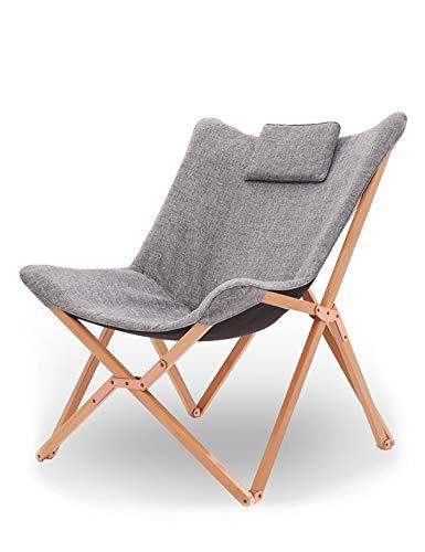 Suhu Klappstuhl Camping Stuhl Lounge Sessel Modern Design Retro Stühle Liegestuhl Klappbar Gartenliege Auflagen Hochlehner TV Relaxliege Mit Holzrahmen Stoff Für Balkon (Hell Grau)