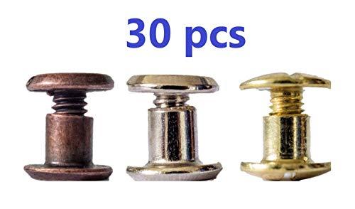 Buchschrauben 5mm Mix silber/Kupfer/gold jeweils 10 Stück aus Metall 5mm lang, Kopf 10mm Buchnieten für Leder