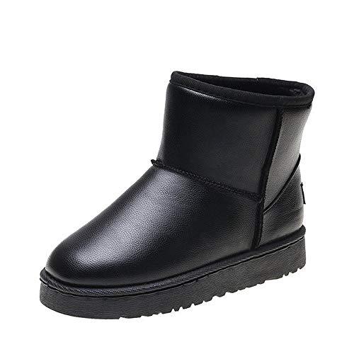 ICHUANGDIANZI Botas De Nieve Mujer Invierno Cálido Y Terciopelo Zapatos De Pan Grueso Botas Cortas Zapatos De Algodón (Color : Black Leather, Size : 38)