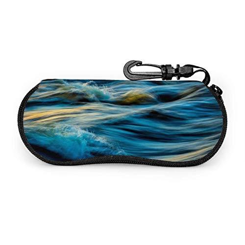 Lunettes de soleil Blue Wave avec boucle de verrouillage Sac souple Étui à lunettes en tissu de plongée ultra léger