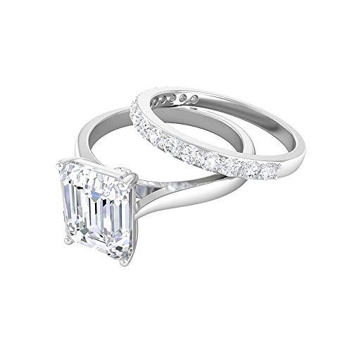 Anillo de boda antiguo, conjunto de anillos de compromiso, 3 quilates 7 x 9 mm, forma octágono, anillo de moissanita, anillo de aniversario solitario, 14K Oro blanco, Moissanita, Size:EU 61
