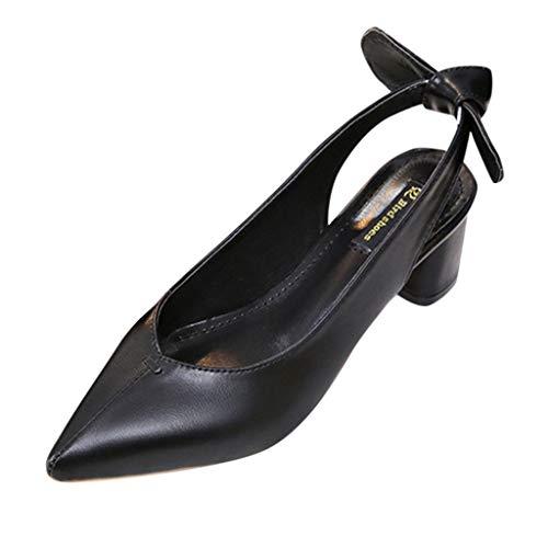 MRULIC Damen Sandalen Dicke Ferse Spitze Bogen High Heels Set Füße Freizeitschuhe Büroschuhe Offiziell Retro Mary Jane Schuhe(Schwarz,37 EU)