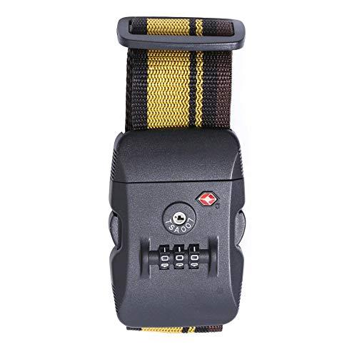 Logic(ロジック) スーツケースベルト TSAロック (イエロー×ブラック) TSA対応 スーツケーストラベルベルト 最大サイズ 約200cm 選べる12色 スーツケースバンド カラフル ミニサポートベルト 旅行鞄用ベルト トラベル 飛行機グッズ トラ