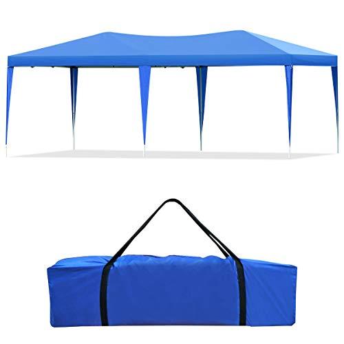 Goplus Gazebo da Giardino Pieghevole 3 X 6 m Tenda Padiglione da Giardino per Campeggio, Facile da Trasportare con Borsa (Blu)