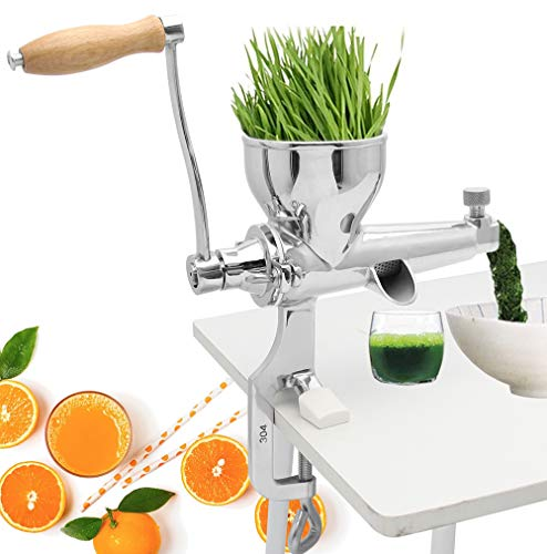 Moongiantgo Manual Wheatgrass Juicer Extractor Stainless Steel Manual Juicer for Juicing Wheat Grass Celery Kale Spinach Parsley Pomegranate Apple Grapes Fruit Vegetable (Classic Style)