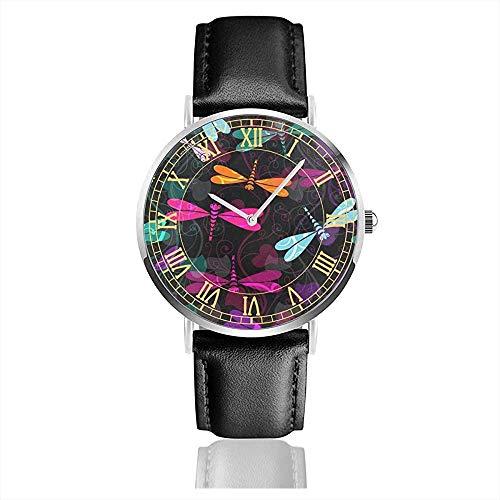 Reloj de Pulsera Unisex Damasco Flower Dragonfly con Caja Plateada de Acero Inoxidable, Correa de Cuero, Esfera de Cristal
