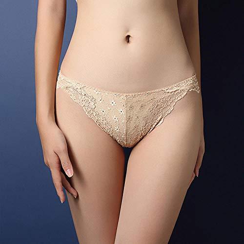 Erotische Kostüme für Damen Unterwäsche & Dessous für Damen Luxus Damen Unterwäsche Sexy Spitze Transparente Verführung Slips Niedrige Taille Erhöhen Hohl Hohl T-Pants 3004-Skin Tone_One Größe