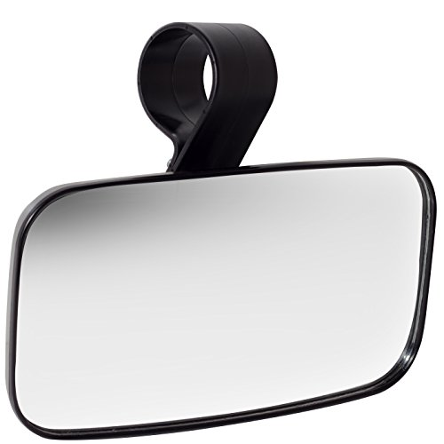 Rear View Mirror UTV Accessories - Mirrors Best for Wide Angle Center or Side-by-Side Off Road Clear-View - High Impact ABS Housing & Universal Roll Cage Bar Mounts with Shatter-Proof Tempered Glass