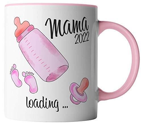 vanVerden Taza – Mama 2022 loading – futura madre – embarazada – impresa por ambos lados – Idea de regalo – Tazas de café – Color blanco/rosa