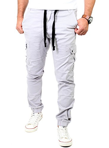 Reslad Chinohose Herren Jogging Jeans Chino Freizeithose Cargo-Hose Jogginghose RS-2084 Grau W36