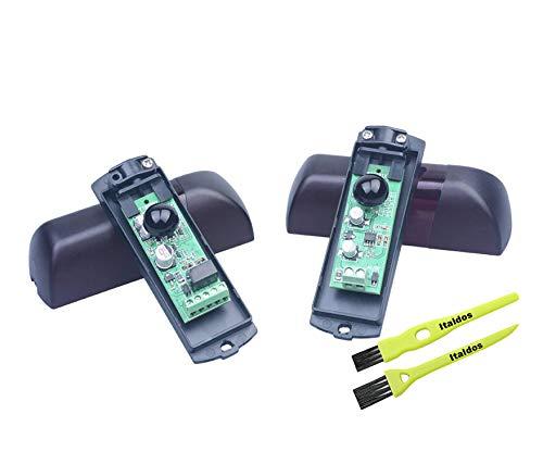 Italdos Fotocélulas Universales Ajustables a 180 ° para Automatización de Puertas Garaje Impermeable Infrarrojo Modulado de Pared Protección Electromagnética y Filtro Solar AC/DC 12-24V