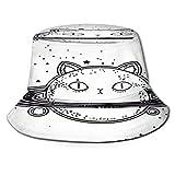 TTLUCKY Sombrero de Pesca,Tatuaje de Carne Oscura con Cabeza de Gato planetario,Senderismo para Hombres y Mujeres al Aire Libre Sombrero de Cubo Sombrero para el Sol