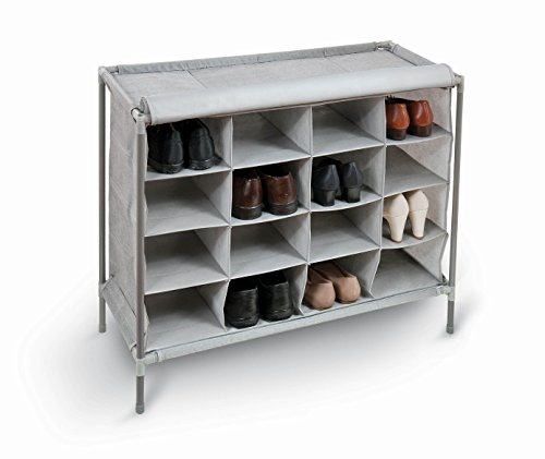 Domopak Living 8001410073822 Schoenenkast met 16 vakken, kunststof/staal/polypropyleen, grijs, 35 x 81 x 66 cm