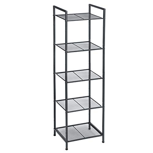 SONGMICS Bathroom Shelf, 5-Tier Storage Rack, Industrial Style Extendable Plant Stand with Adjustable Shelf, for Bathroom, Living Room, Balcony, Kitchen, Black UBSC35BK
