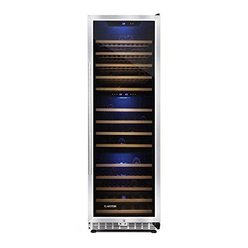 Klarstein Gran Reserva cantinetta vino frigorifero con 14 ripiani in legno e 3 zone di raffreddamento indipendenti (450 litri, 144 bottiglie, pannello di controllo touch, illuminazione LED)