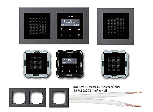 GIRA Unterputz UP RDS Radio 228405 Komplett-Set schwarz glas mit 2 x Lautsprecher in 1+2 fach Rahmen anthrazit (E2) + 10 Meter Lautsprecherkabel 2x0,75 mm² weiß 100% OFC
