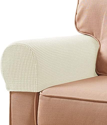 Fundas de reposabrazos de Tela elástica de Spandex, Antideslizantes, Protectores de Muebles, Fundas de sillón para sofá reclinable, Juego de 2 con Herramientas de fijación gratuitas, pasadores girato