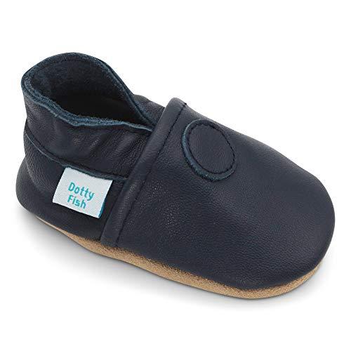 Dotty Fish weiche Leder Babyschuhe mit rutschfesten Wildledersohlen. 12-18 Monate (21 EU). Einfarbig marineblauer Schuh. Klassisches Design. Jungen und Mädchen. Kleinkind Schuhe.