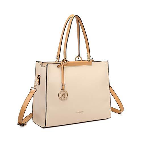 Miss Lulu Elegante Handtasche Damen Stillvolle Schultertasche Frauen Für Büro (Beige)