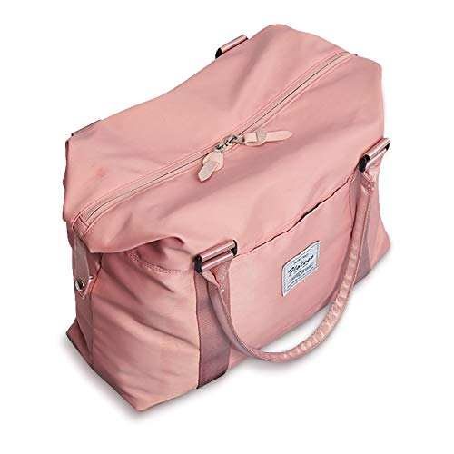 Womens travel bags, weekender carry on for women, sports Gym Bag, workout duffel bag, overnight shoulder Bag fit 15.6 inch Laptop Pink Large