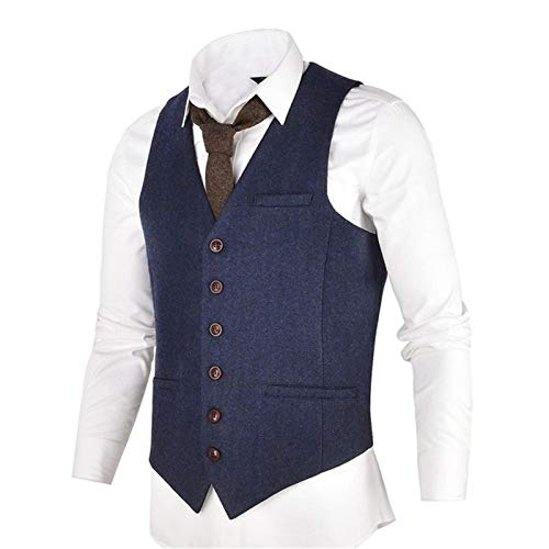 DSSJG Blue Tweed Mens Vest Suit Blend Single Breasted Herringbone Waistcoat Men Waist Coat for Man (Color : Navy Blue, Size : 3XL.)