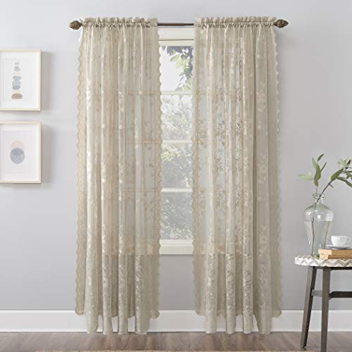 """No. 918 Alison Floral Lace Sheer Rod Pocket Curtain Panel, 58"""" x 84"""", Stone"""