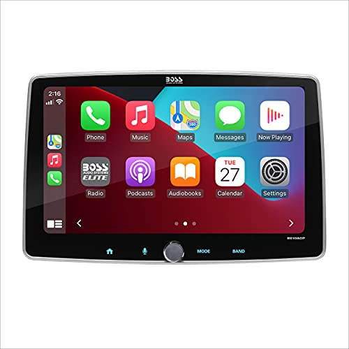 BOSS Audio Systems Elite BE10ACP - Apple CarPlay, Android Auto, Single Din Chassis with Double DIN conversion brackets, Detachable 10.1 Inch Capacitive Touchscreen, Bluetooth, No DVD, RGB Illumination