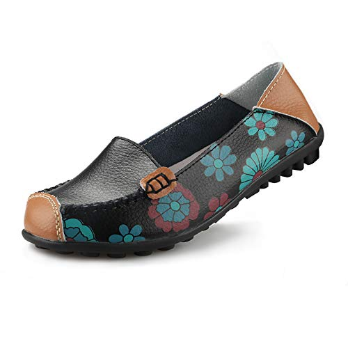 Ablanczoom Womens Comfortable Leather Floral Print Flats Casual Driving Loafers Walking Shoes for Women Black