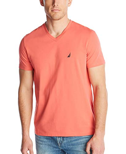 Nautica Men's Short Sleeve Solid Slim Fit V-Neck T-Shirt, Dreamy Coral, Large
